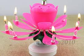amazing happy birthday candle amazing musical lotus rotating happy flower party cake