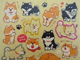 kawaii japanese shiba inu kraft paper stickers cute black dogs kawaii japanese shiba inu kraft paper sticker flakes cute black dogs brown puppy