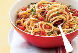 cuisiner des tomates cerises spaghettis à la pancetta aux tomates cerises et au basilic le