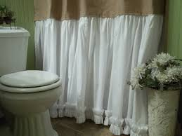 burlap shower curtain shabby chic burlap cotton gathered zoom