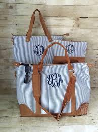 Massachusetts Travel Handbags images Monogrammed seersucker weekender travel set duffle bag preppy jpg