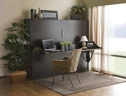 black wooden murphy bed with floating desk completed by rustic