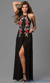 cheap long black maxi dress with embroidery
