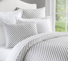 Duvet Covers Grey And White Beckett Belgian Flax Linen Stripe Duvet Cover Sham Pottery Barn