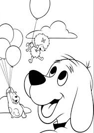 clifford coloring pages clifford the big red dog want to fly with baloon coloring page
