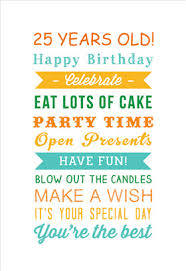 25th birthday card quotes quotesgram 25 years birthday printable card customize add text and