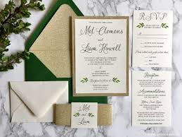 wedding invitations nj gold glitter wedding invitation with greenery green and gold