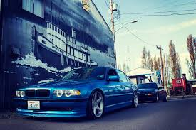 bmw stanced bmw e38 750il bmw blue tuning stance road hd wallpaper