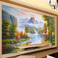 popular forest wall mural buy cheap forest wall mural lots from custom 3d wall mural wallpaper forest landscape oil painting living room backdrop home wall painting decor