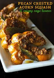 pecan crusted acorn squash recipe with crispy leaves
