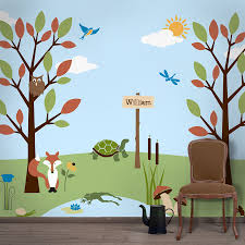 forest wall mural stencil kit for kids room baby nursery details our forest themed wall mural