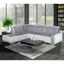 canapé pvc angle canapé angle gauche nubuk et pvc gris et blanc florida dya shopping fr