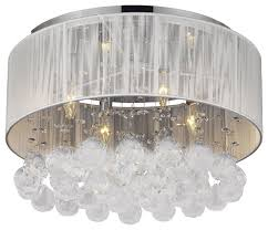 Odeon Crystal Chandelier Flush Mount With 4 Light Chrome And White Shades Crystal