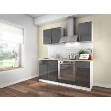 cuisine cdiscount cuisine complète loft 180 cm gris laqué à 142 50