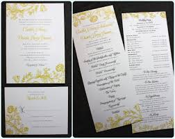 print wedding programs yellow gray vintage floral print wedding invitations