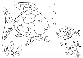 rainbow fish gives a precious scale to small coloring page for