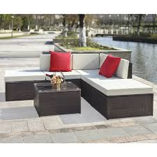 wicker patio furniture sets ikayaa 6pcs rattan wicker outdoor patio sectional sofa set brown