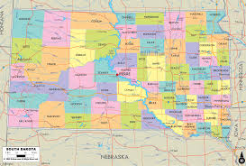 Physical Map United States by South Dakota Physical Map