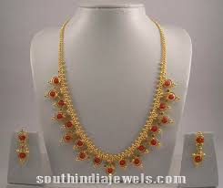 gold coral necklace design south india jewels