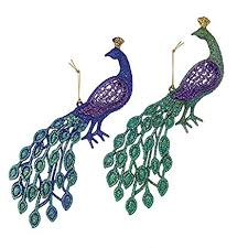 4 5 acrylic peacock ornament set of 2 home kitchen