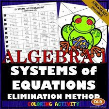 solving systems of equations using the elimination method coloring