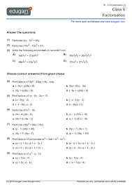 class 8 math worksheets and problems factorisation edugain india