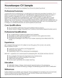 Private Housekeeper Resume Resume Examples Housekeeping Job Wining Experience And Loan
