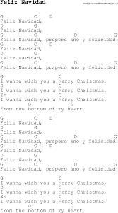 christmas carol song lyrics with chords for feliz navidad