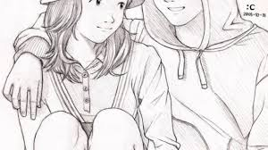pencil drawings of couples pencil drawings of anime couples
