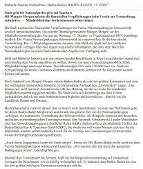 Stadt Baden Baden Seifermann Anfrage Zum Thema U201cstadt Baden Baden Geht Bei