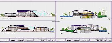 design center cad convention center with curved roofs 2d dwg design elevation for