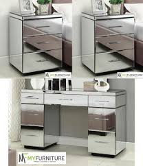 dressing table with mirror and drawers rio 2 x mirrored bedside tables 7 drawer mirrored dressing table
