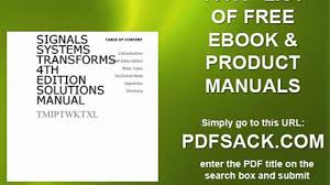 signals systems transforms 4th edition solutions manual video