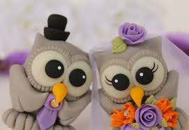 love bird wedding cake topper owls custom bride and groom