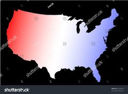 Map Of Red And Blue States by Horizontal Vector Image Outline United States Stock Vector