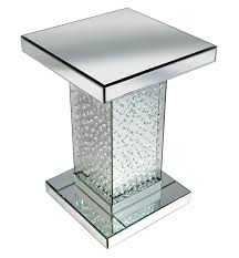 Mirrored Tables Floating Crystals Mirrored Lamp Table 66cm X 46cm X 46cm