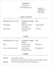 exle resume templates acting resume templates free formats excel word actor invoice