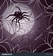 halloween spiders background moonlit spider web halloween background design stock vector