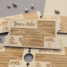 personalised wooden save the date by metal moments