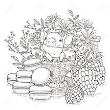 adorable piggy coloring page in exquisite style royalty free