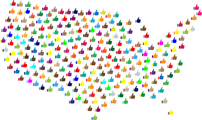 United States Map States by Clipart Prismatic Thumbs Up United States Map