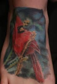 cute small cardinal portrait tattoo on foot picsmine