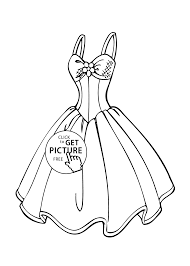 wedding dress coloring page for girls printable free coloing
