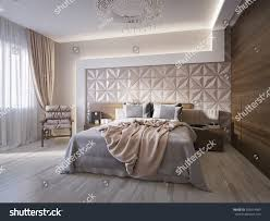 spacious modern master bedroom leather wall stock illustration spacious modern master bedroom with leather wall panels 3d render