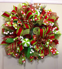 christmas mesh ribbon christmas mesh wreath by williamsfloral on etsy 89 00 wreaths