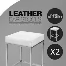 Barstool Chair 2x Pu Leather Bar Stool Modern Kitchen Barstool Chair Steel Legs