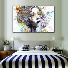 modern wall art with flowers unframed canvas painting for