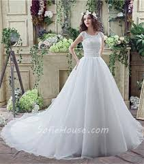 Chapel Train Wedding Dresses Ball Gown Scoop Neck Lace Organza Wedding Dress Chapel Train