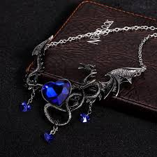 heart necklace wholesale images European necklace for women men gothic vintage red heart dragon jpg