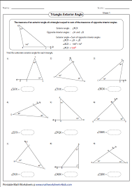 interesting marvelous worksheet triangle sum and exterior angle